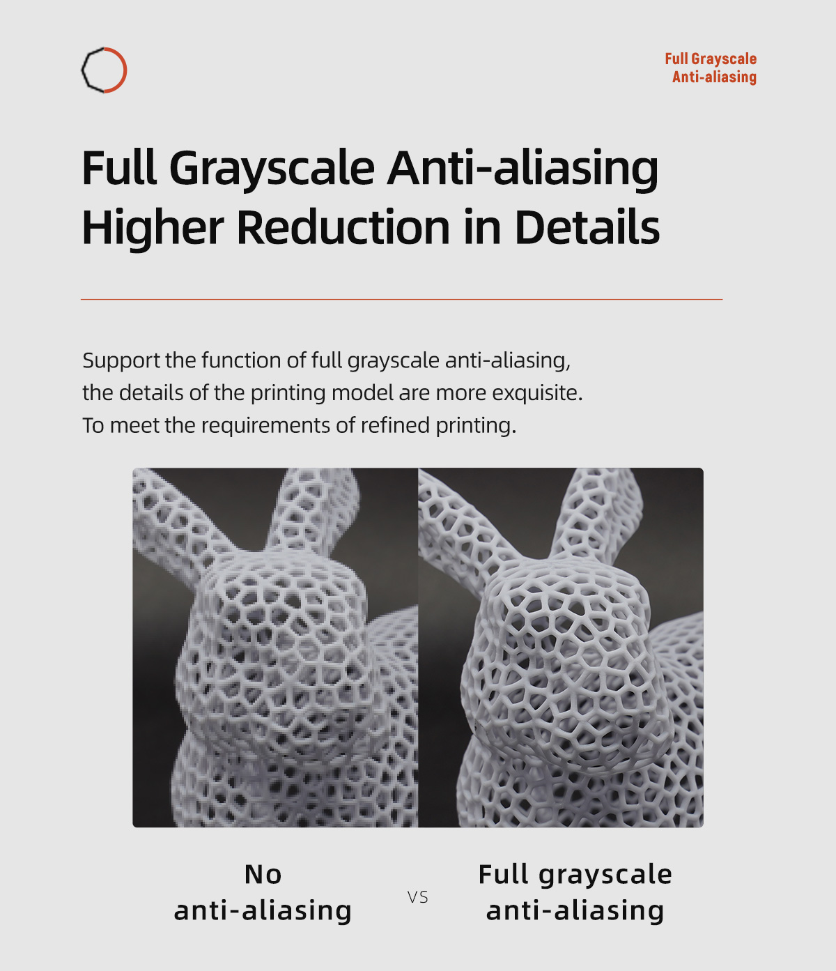 Support the function of full grayscale anti-aliasing, the details of the printing model are more exquisite To meet the requirements of refined printing
